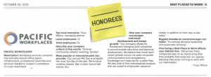 Pacific Workplaces Once Again Honored as Best Places to Work by the Sacramento Business Journal