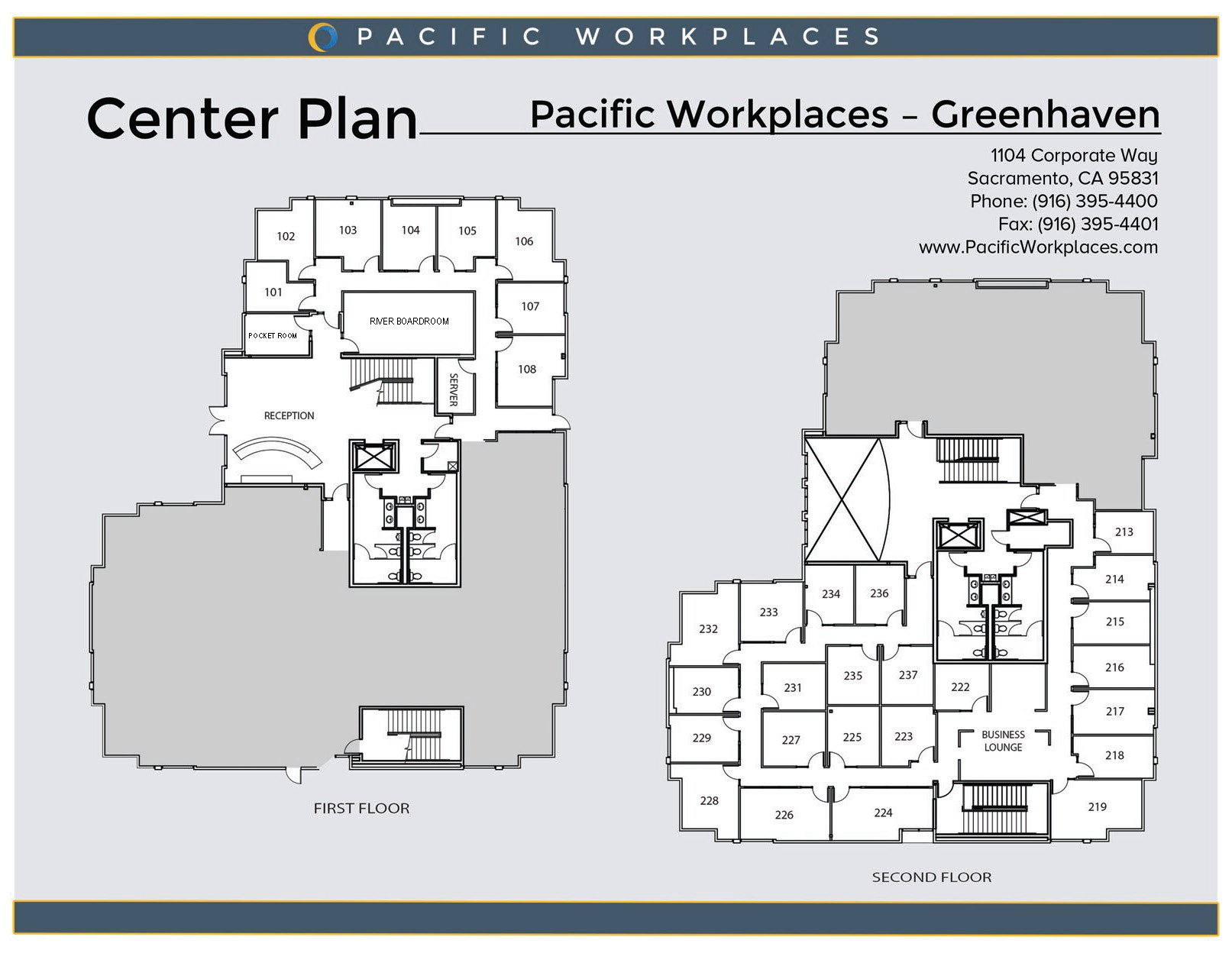 Pacific Workplaces Sacramento Greenhaven Floor Plan