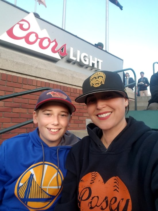 Enjoying a San Francisco Giants Baseball game with son, Robbie.