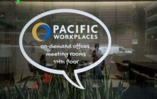 Pacific Workplaces On Demand Offices and Meeting Rooms Window Sign