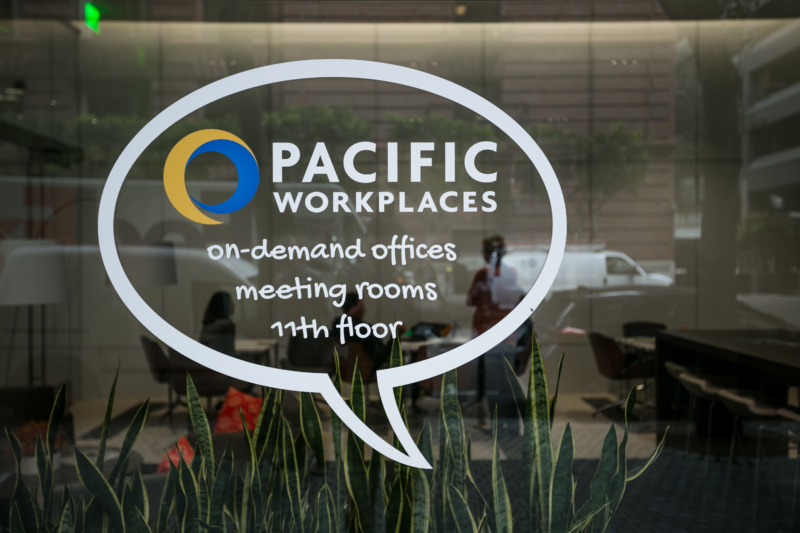Window Sign at Pacific Workplaces San Francisco On-Demand Offices and Meeting Rooms