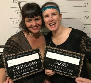Iris Kavanagh and Cat Johnson at NextSpace Coworking Santa Cruz Speakeasy Holiday Event