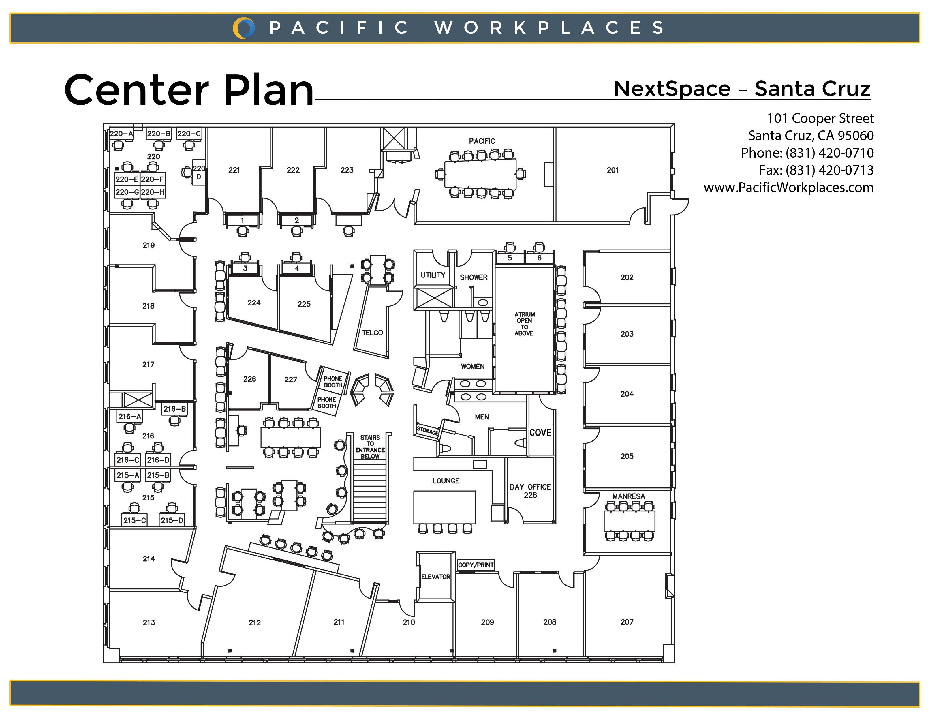 NextSpace Coworking Santa Cruz Floor Plan 060818