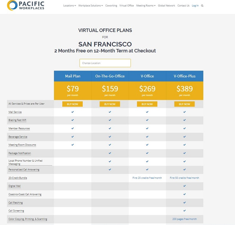 Pacific Workplaces San Francisco Virtual Office Plans 2 Months Free for 12 Months Special