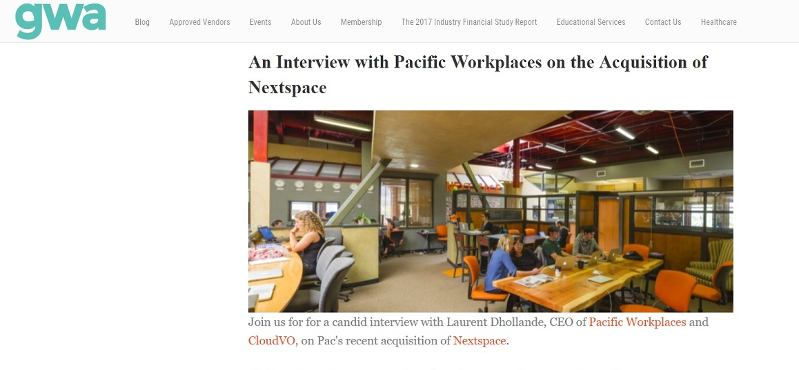 Pacific Workplaces Acquires NextSpace GWA Interview