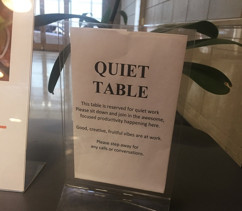 NextSpace Coworking Berkeley Quiet Table Signage