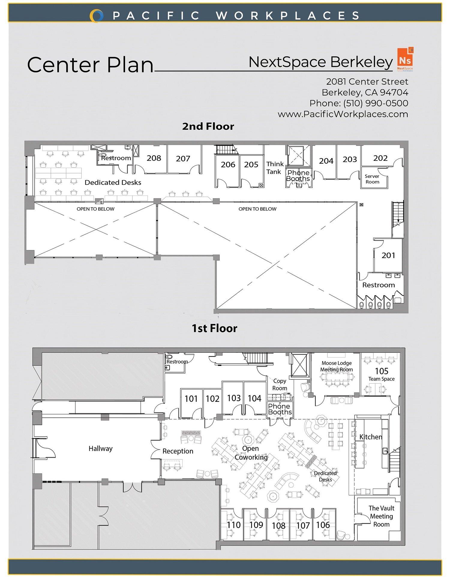 NextSpace Coworking Berkeley Floor Plan 042821